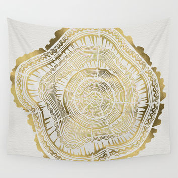 Gold Tree Rings Wall Tapestry by Cat Coquillette