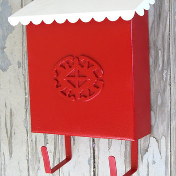 Vintage Retro Metal 1950s 60s House Cherry Red White Metal Mailbox Restored