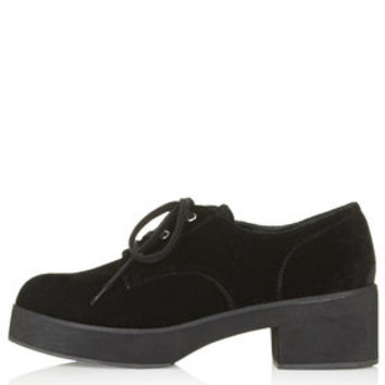FAZE Lace-Up Velvet Shoes - Black