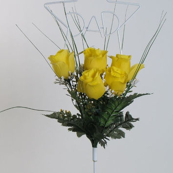 Dad Wire Stand with Artificial Yellow Roses