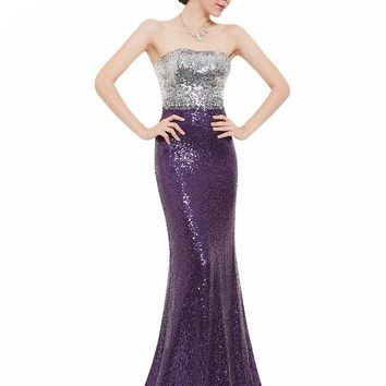 Clearance Style Women Strapless Fit and Flare Sequin Dresses