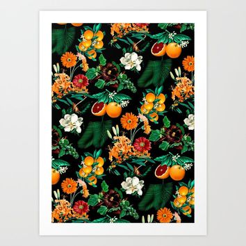 Fruit and Floral Pattern Art Print by burcukorkmazyurek