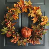 Autumn Harvest Wreath - Pumpkin Wreath - Fall Door Wreath - Thanksgiving Decor - Wreaths for Door - Fall Porch Decor - Berry Wreath