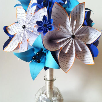Bridal Bouquet of Paper Lilies- 12 inch alternative bouquet, one of a kind origami, destination wedding, paper flowers, something blue