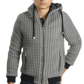 QUILTED HOODED BOMBER JACKET - GREY