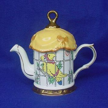 Price & Kensington Whimsical Caged Parrot Teapot from antiquebeak on Ruby Lane