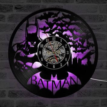 Batman Dark Knight gift Christmas Personalized Round Batman CD Record Clock Creative Hollow Black Antique Vinyl Record Artistic Hanging LED Wall Clock AT_71_6