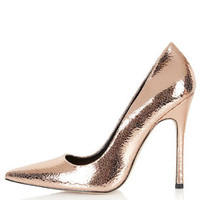 GALLOP Metallic Court Shoes - Rose Gold