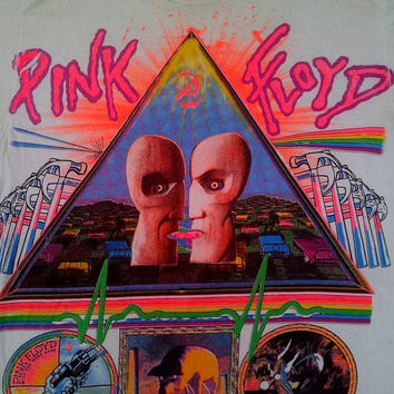 CLEARANCE SALE Vintage PINK Floyd The Division Bell 1994 Punk Rock Roger Waters Concert Tour White Tee T shirt Size L