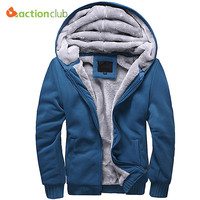 ACTIONCLUB Winter Thicken Hoodie Men Zipper Hooded Coats Brand Men Coats Mens Solid color Mens Thick Warm Plus size Hoodies