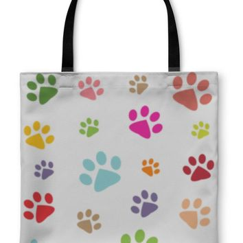 Tote Bag, Colored Pattern With Paw Prints