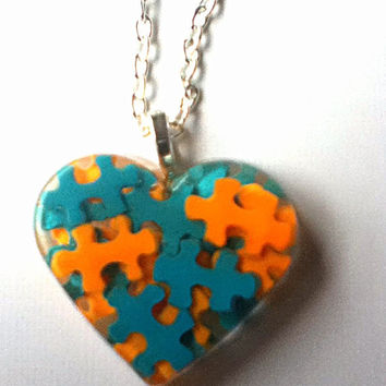 Autism Awareness Heart Puzzle Piece Resin Pendant Necklace, Autism Jewelry, Orange, Aqua Blue, Miami Dolphins, NFL, School Colors