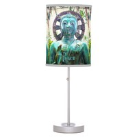 """Peace"" Quote Asian Turquoise Buddha Statue Photo Table Lamp"