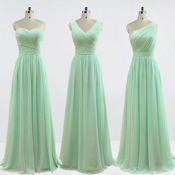 Cheap Bridesmaid Dresses 3 Styles Mint Green Brown Wedding Party Dress Real Photos 2016 Vestido Madrinha SA192