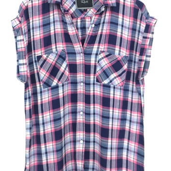 Rails || Britt buttondown in pink/navy