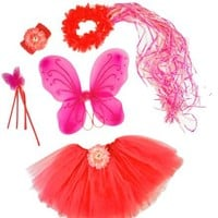 Pink and HotPink 6 Pc Fairy Princess Costume Set. Hot Pink Butterfly Dress up
