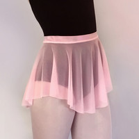 Pink Sheer Mesh SAB Skirt -Dance Ballet - Royall Dancewear- Pull On Skate Skirt