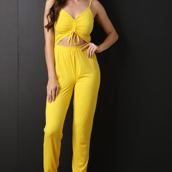Ruched Front Lace-Tie Open Midriff Jumpsuit
