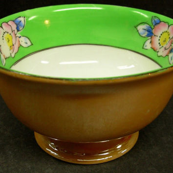 Tashiro Shoten Japanese Footed Bowl Art Deco Porcelain Green China Peach Lustre Small