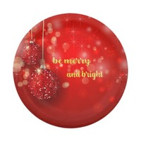 Beautiful Red Sparkle Ornaments, Christmas Paper Plate