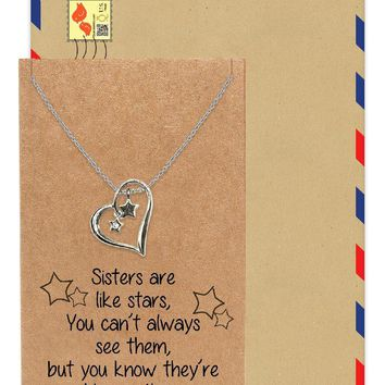 Brenda Heart and Stars Pendant Necklace, Sisters Necklaces, Sister Quotes Jewelry Greeting Card