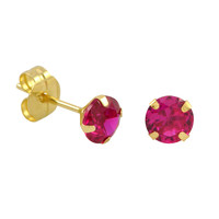10k Yellow Gold Red Ruby CZ Stud Earrings Cubic Zirconia Round Prong Set