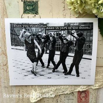 When You Stumble Make It Part Of The Dance Funny Vintage Style Happy Graduation Congratulations Greeting Card FREE SHIPPING
