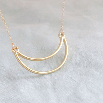 Gold Crescent Necklace. Moon Necklace. Half Moon Necklace.Gold Moon Necklace. Gold Half Moon Necklace.