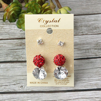 Crystal Ball & Diamond Earrings (3 Pair)