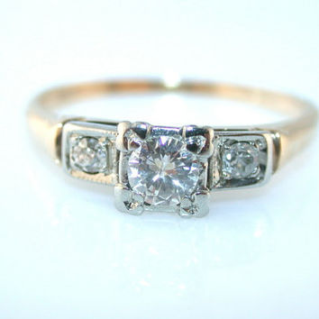 Vintage Antique 14k Yellow Gold And White Gold .40ct Diamond Engagement Ring 1940's Art Deco