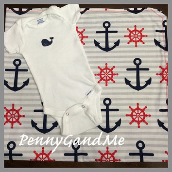 Shop nautical baby blanket on wanelo nautical baby gift set personalized baby blanket and whale one piece anchor baby negle Gallery