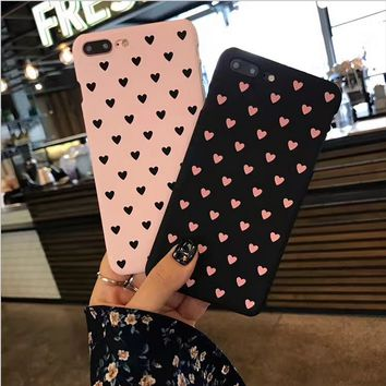 Cute Love Heart Cell Phone Hard Protective Case Cover For Iphone 6 6S 7 8 Plus