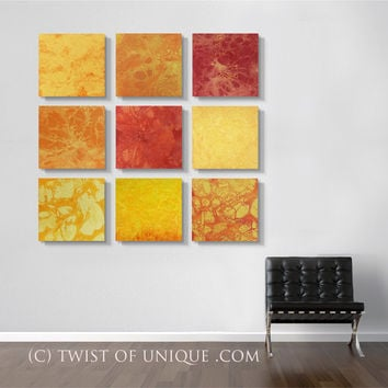Large Sunrise Abstract paintings, - ORIGINAL 9 panel ( 15 x 15 Inch) Abstract Wall Art -  Red, Orange, Yellow, Warm colors