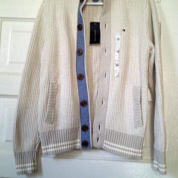 Men's Tommy Hilfiger Euro Cardigan Sweater Ivory (or Off White) - New!