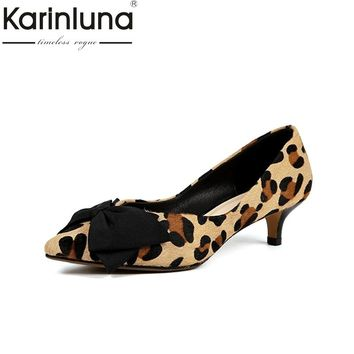 KARINLUNA large size 33-40 pointed toe pumps spike heels women shoes comfortable butterfly easy walking lady girls shoes woman