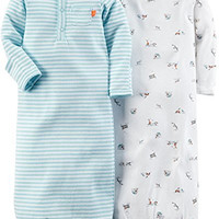 Carter's Baby Boy's 2 Pack Print Gowns - Light Blue - One Size