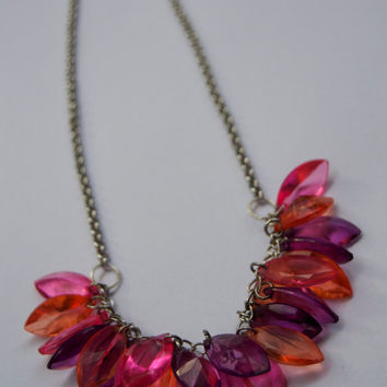 Plastic beaded necklace - Dangle necklace - Handmade and colourful jewellery - Unique and eco friendly - Repurposed materials and ooak