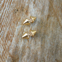 Gold double sided spike stud earrings/small spike/stud earrings