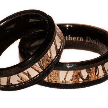 White Camouflage On BlackTungsten Couples Band Rings