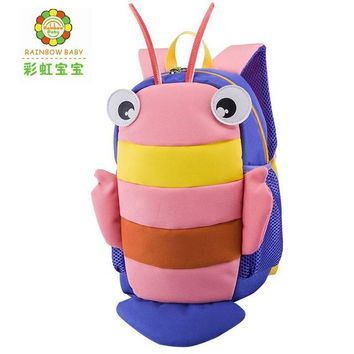 Toddler Backpack class Rainbow Baby Lovely Small Bee Children Backpack Baby Bags for Kindergarten Schoolbags Toddler Anti-lost Rope Safety Backpack AT_50_3