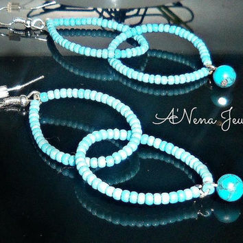 "Earrings:Czech beads And Genuine Turquoise ""Resilient"""