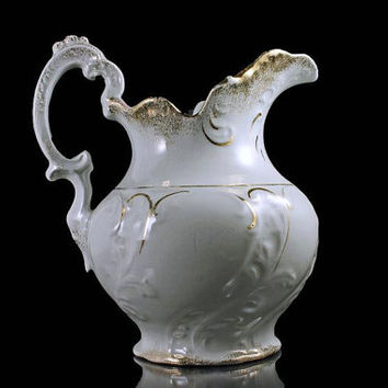Water Pitcher, White with Gold Trim, Etruria-Mellor & Co.