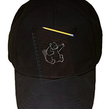 'Sketching Escape' Funny Bear Drawing Punching on Paper - 100% Adjustable Cap Hat