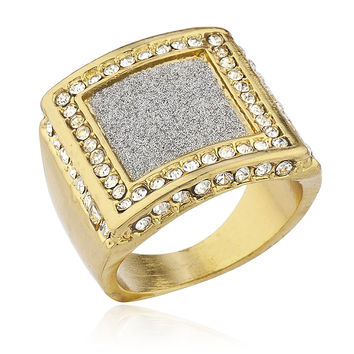 Men's Goldtone Iced Out Ring with Sandblasted Inner Square Design Sizes 7-10