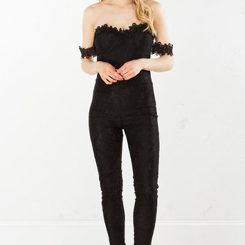 Lace Jumpsuit in Yellow and Black
