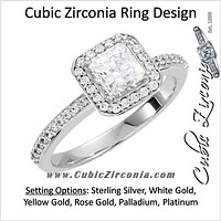 Cubic Zirconia Engagement Ring- The Jamie (Princess Cut Halo-Style with Pave Band)