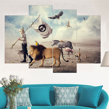 No Frame Mordern Lion Canvas Painting Zebra Animal Wall Art Poster and Print Oil Painting Home Decor Wall Picture for Home 4pcs