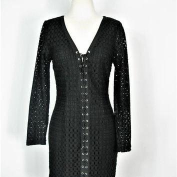 Gothic Dress Lace-up Eyelet MINISTRY OF STYLE Long Sleeve Dress 4