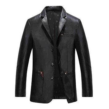 Turn Down Collar Men Leather Jacket Slim Fit Single Breasted