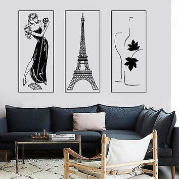 Wall Vinyl Paris Eiffel Tower Bottle Of Wine Sexy Woman Singing Girl Lady z2853